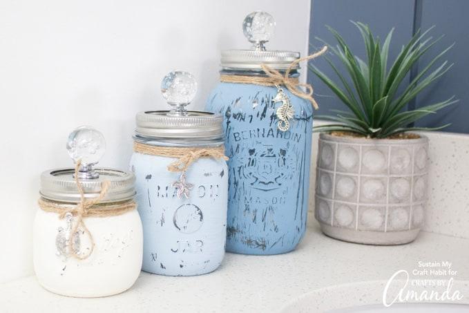 beach mason jar canisters