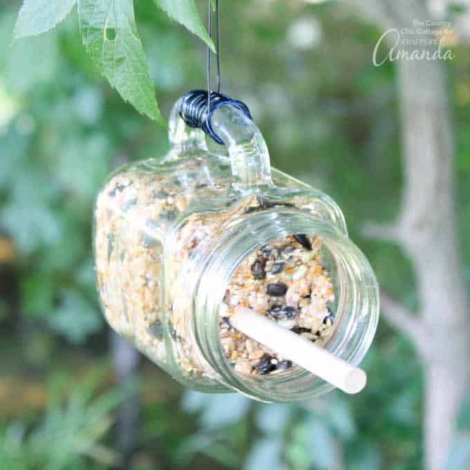 DIY mason jar bird feeder craft
