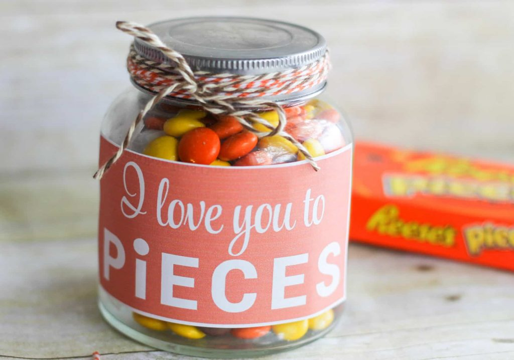 I love you to pieces candy mason jar gift