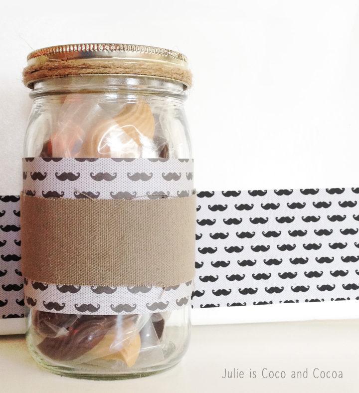 stache candy mason jar