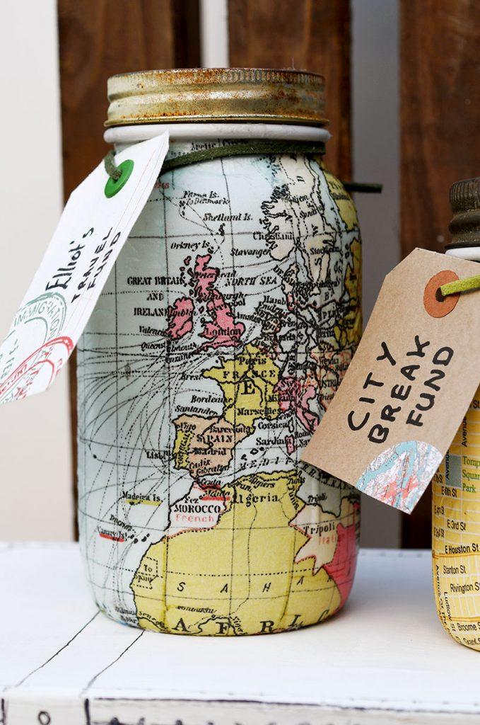 world map mason jar bank