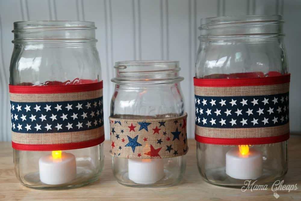 American flag luminary jars